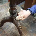 A George II Mahogany Tripod Table, Circa 1755. Conservation work giving the base a thin coat of clear beeswax.